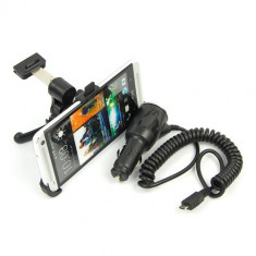 Suport auto grila ventilatie HTC ONE M7 + incarcator auto htc + folie protectie ecran, Universala