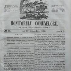 Principatele Unite , Monitorul comunelor , nr . 39 , Joi 27 Septembrie , 1862