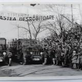 Chisinau, defilarea trupelor motorizate pe B - dul Alexandru cel Bun, 1941 - Fotografie veche