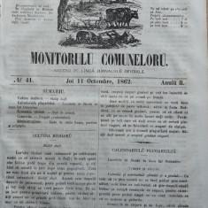 Principatele Unite , Monitorul comunelor , nr . 41 , Joi 11 Octombrie , 1862