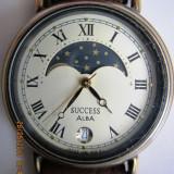Vand ceas dama japonez cu quartz ALBA SUCCESS, produs de SEIKO,, Inox, Piele, Fazele lunii, Analog