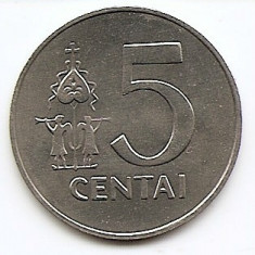 Lituania 5 Centai 1991 - Aluminiu, 24.4 mm KM-87 aUNC, Europa