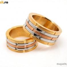Set Verighete suflate cu aur de 18k Dama/Barbat COD: 020