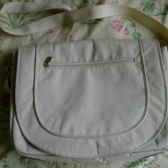 Geanta laptop mare marca TCM Tchibo Certified Merchandise messenger bag multiple compartimente fermoar arici velcro, Nailon, Crem
