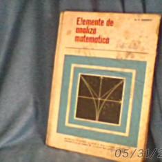 Elemente de analiza matematica/ionescu/1967/cartonat/230pag/stare.buna - Manual auto