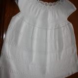 Bluza dama crosetata manual, Marime: Masura unica, Culoare: Alb, Maneca scurta, Alb, Bumbac