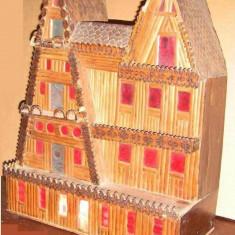 Casuta Casa CABANA Macheta din Lemn Artizanat Pirogravat