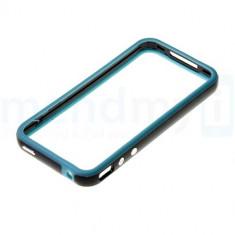 bumper negru albastru iphone 4 4s + folie protectie ecran poze reale butoane volum metalice