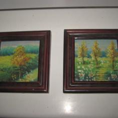 Frumoase peisaje mici pereche, ulei pe placaj cu rama din lemn, Acuarela, Art Deco