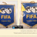 Fanion de perete original FIFA din anul 1989 pentru colectionari suporteri fani fotbal federatia internationala soccer