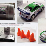 Jucarie  Masinuta Rally green-white radiocomanda Coke cu jaloane raliu racing