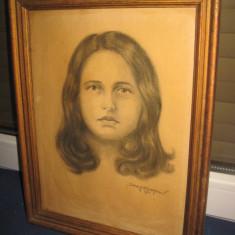 Portret vechi- Frumoasa Tanara in creion, semnat Serfozopan. - Pictor roman, Portrete, Carbune, Realism