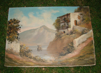 Pictura, ulei pe panza, semnata M. Ebevlen, anul 1980 (5) foto