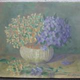 Violete, flori, pictura interbelica, ulei pe panza - Pictor roman