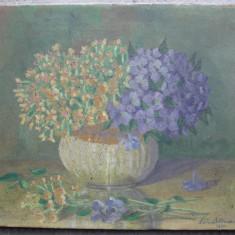 Violete , flori , pictura interbelica,  ulei pe panza