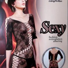 Rochita sexy neagra, Lenjerie sexy dantelata, Compleu sexy - Lenjerie sexy dama, Culoare: Negru, Marime: Marime universala