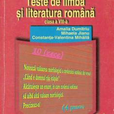 TESTE DE LIMBA SI LITERATURA ROMANA CLASA A VIII A de AMALIA DUMITRIU ED. CARTEA DE BUZUNAR