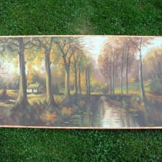 Tablou foarte mare, peisaj de toamna, ulei pe panza (6) - Tablou autor neidentificat, Realism