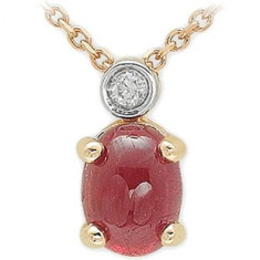 Colier Aur Roz 14K cu Diamant si Rubin