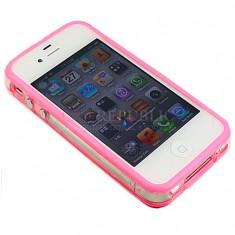 bumper roz transparent original iphone 4 + folie protectie ecran + expediere gratuita