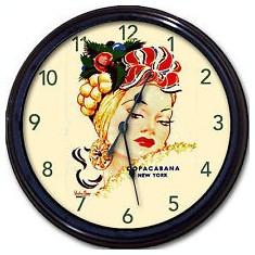 273.Ceas de perete vintage - COPACABANA NEW YORK  CARMEN MIRANDA