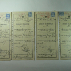 LOT DE 4 BULETINE DE MOARTE - AUTORIZATIE DE INMORMANTARE - EMISE DE PRIMARIA LUDUS IN ANUL 1934, Documente