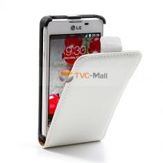 Toc piele alba husa flip LG Optimus L5 e610 + folie protectie ecran
