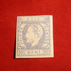 Timbru 10 Bani ultramarin Carol cu Favoriti 1869, sarniera - Timbre Romania
