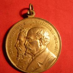 Medalie -Statui Al.I.Cuza si M.Kogalniceanu -Iasi , cu toarta