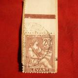 Timbru 20 C Levant Francez 1902 pe fragment, stamp.