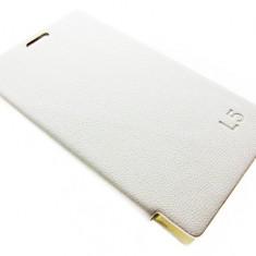 Husa originala piele alba capac spate inchidere laterala flip LG Optimus L5 e610 + folie protectie ecran + expediere gratuita