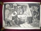 Gravura -VISE semnat Panaitescu Ion , 48,5 x 32,5 cm partea gravata