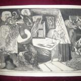 Gravura -VISE semnat Panaitescu Ion, 48, 5 x 32, 5 cm partea gravata - Pictor roman