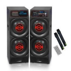 SISTEM 2 BOXE AMPLIFICATE/ACTIVE, MIXER INCLUS, MP3 PLAYER STICK, CARD, TELECOMANDA+2 MICROFOANE WIRELESS. - Boxa activa