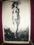 Gravura NUD semnat Popescu V. dim.30 x 50 cm partea pictata, Carbune, Realism