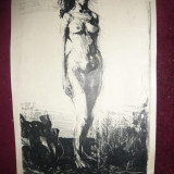 Gravura NUD semnat Popescu V. dim.30 x 50 cm partea pictata - Pictor roman, Carbune, Realism