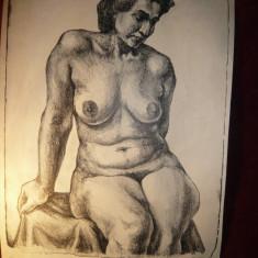 Gravura NUD semnata Panaitescu Ion, 38 x 49 cm partea gravata - Pictor roman, Realism