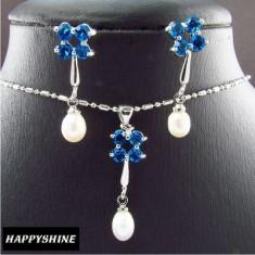 Set de bijuterii placat aur alb 18k, perle, cristale Blue Saphhire - Set bijuterii placate cu aur