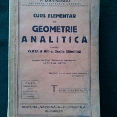 Curs elementar de GEOMETRIE ANALITICA pentru clasa a VIII - a, (cu autograf). - Manual scolar, Clasa 8, Matematica