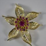 Brosa vintage semnata Sarah Cov, model retro orhidee,  stil Shabby Chic, America