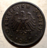 F.153 GERMANIA OCUPATIA ALIATA WWII 10 REICHSPFENNIG 1947 F RARA FARA SVASTICA, Europa, Zinc