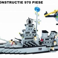 MEGA JOC CONSTRUCTIE tip lego,CENTURY MILITARY,NAVA DE RAZBOI,970 PIESE.CADOU.
