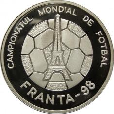 ROMANIA 100 LEI 1998 CAMPIONATUL MONDIAL DE FOTBAL DIN FRANTA ARGINT UNC BU