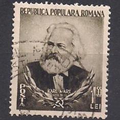 (No3)timbre-Romania- 1953-L.P.342-70 de ani de la moartea lui K.Marx- stampilata