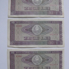 3 BANCNOTE SERII CONSECUTIVE 10 LEI 1966