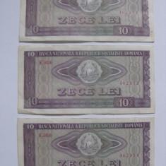 3 BANCNOTE SERII CONSECUTIVE 10 LEI 1966 - Bancnota romaneasca