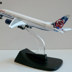 MACHETA METALICA DE COLECTIE AVION AIRBUS BOEING 777-200 - BRITISH AIRWAIS - Macheta Aeromodel Alta, 1:28