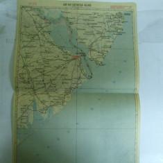 Harta Cetatea Alba color 47 x 31 cm perioada interbelica - Harta Romaniei