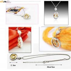 COLIER PANDANTIV in forma de INELE cu aur filat si cristale din zirconiu. NOU - 2+1 gratis toate produsele la pret fix - RBK3531 - Colier placate cu aur
