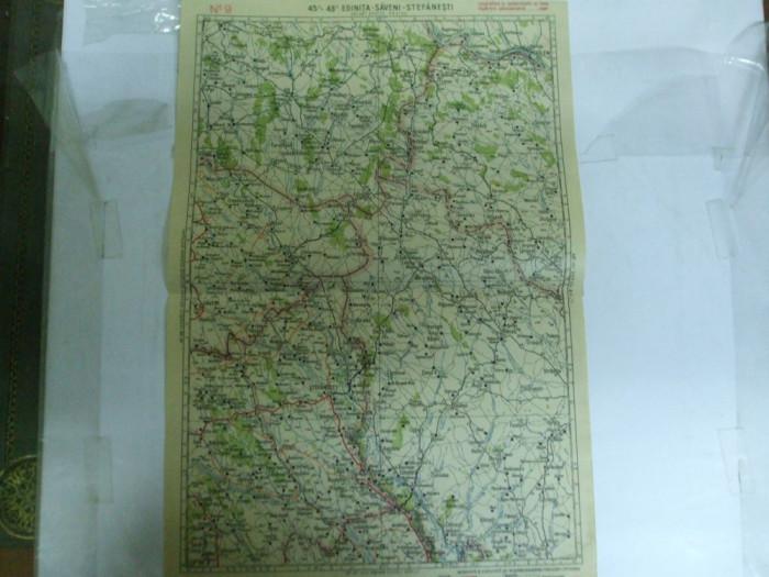 Harta Edinita - Saveni - Stefanesti color 47 x 31 cm perioada interbelica